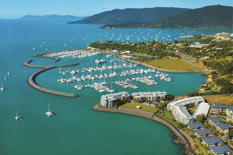 Coral Sea Marina and Airlie Beach from the air