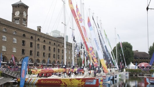 Clipper Round World Yacht Race vessels berthed alongside each other