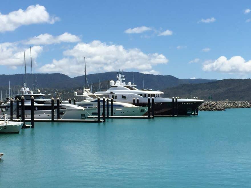 Superyachts berthed at Coral Sea Marina
