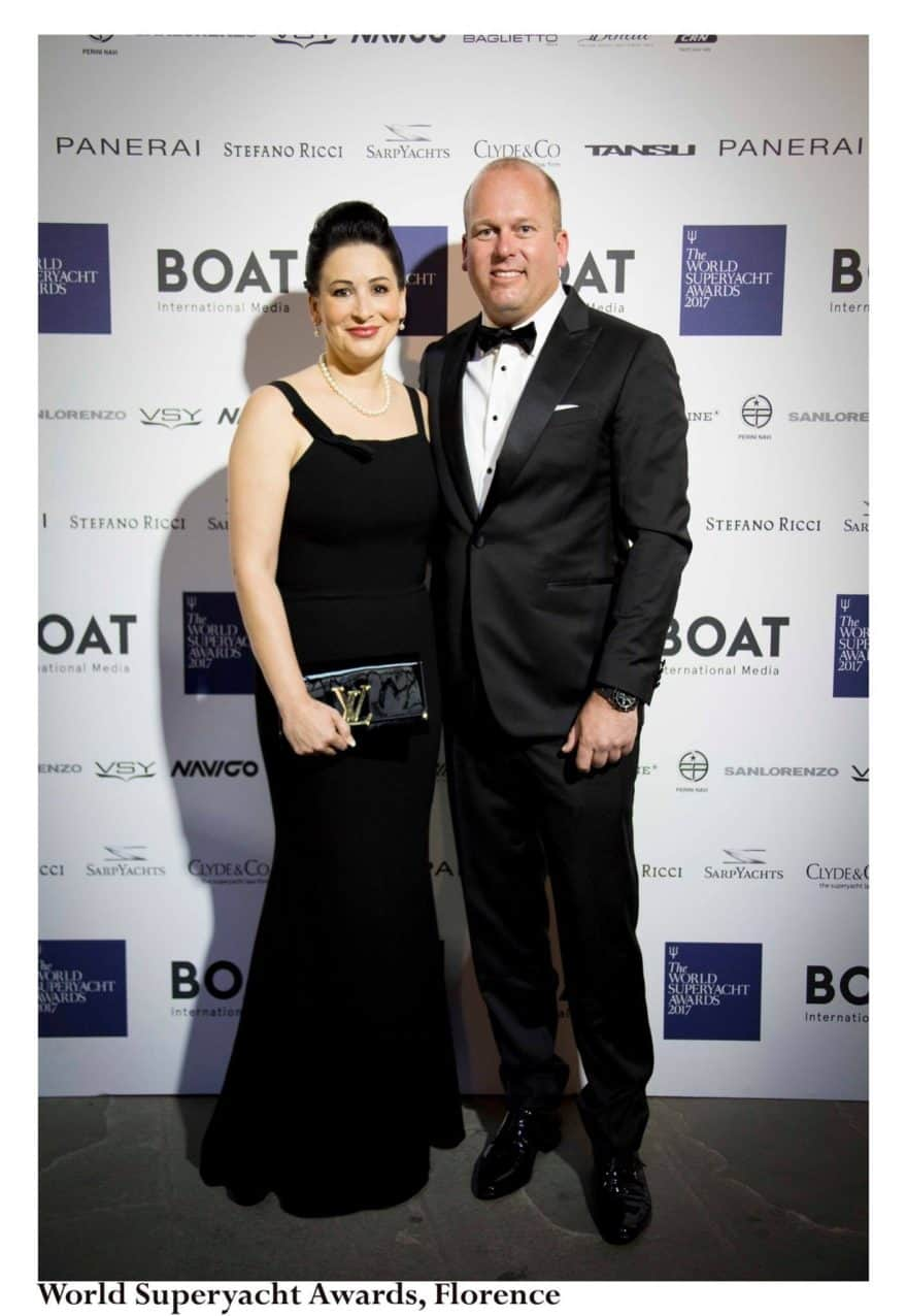 Melanie and Captain Carl Brandes at the World Superyacht Awards in Florence, Italy in 2017
