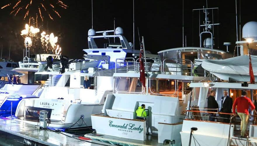 Many vessels berthed in marina watching fireworks at the Australian Superyacht Rendezvous Roundup