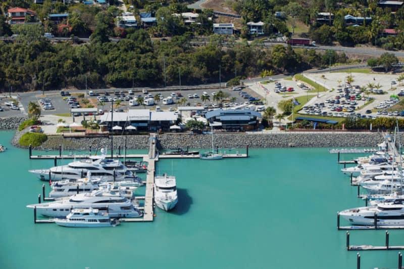 Superyachts berthed at Coral Sea Marina, Airlie Beach