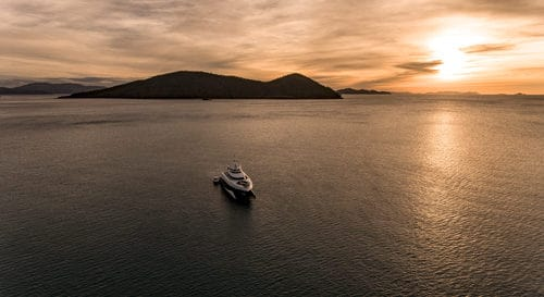 MY Spirit in the Whitsundays at sunset