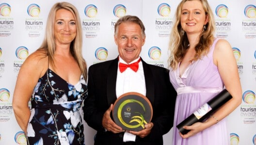 Coral Sea Marina owner, Paul Darrouzet, and Coral Sea Marina marketing staff at the 2017 Queensland Tourism Awards