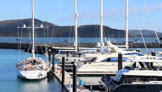 Superyachts berthed at Coral Sea Marina Whitsundays Queensland