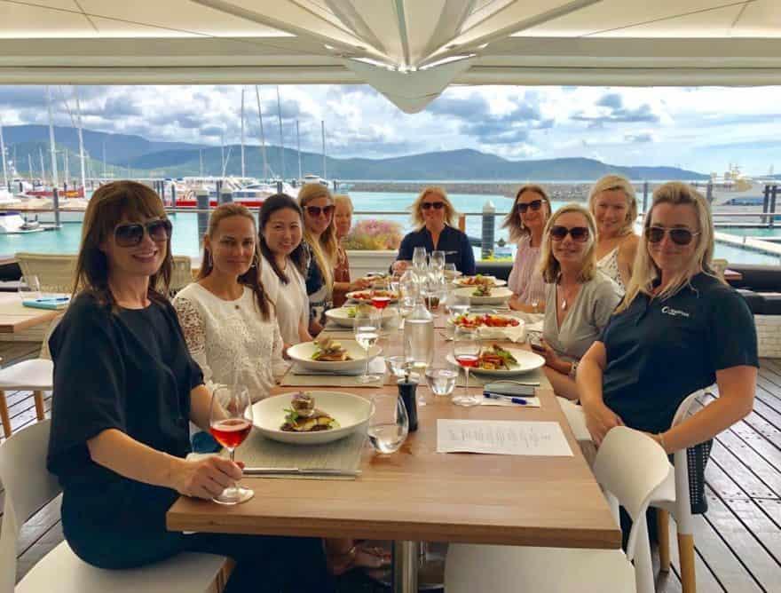 Superyacht Famil delegates dine at Hemingways at Coral Sea Marina