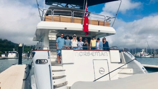 Superyacht Group Great Barrier Reef Famil 2019 delegates on board Norseman superyacht at Coral Sea Marina