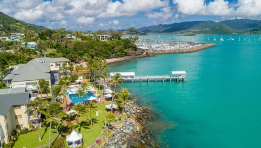 aerial of Coral Sea Resort Hotel and private jetty with Coral Sea Marina in background