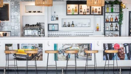 The bar area at The Garden Bar Bistro at Coral Sea Marina