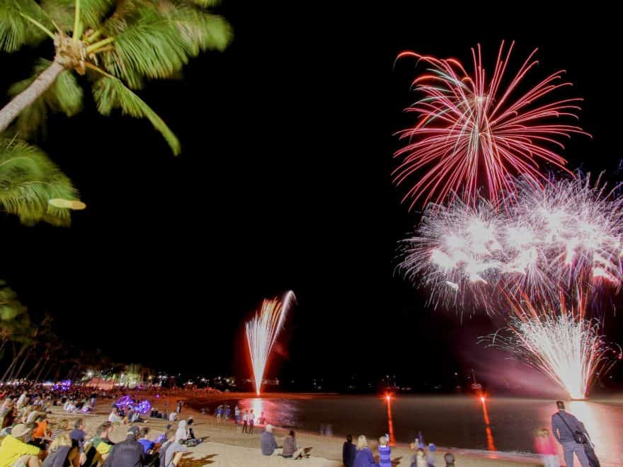 Airlie Foreshore Fireworks during the Great Barrier Reef Festival