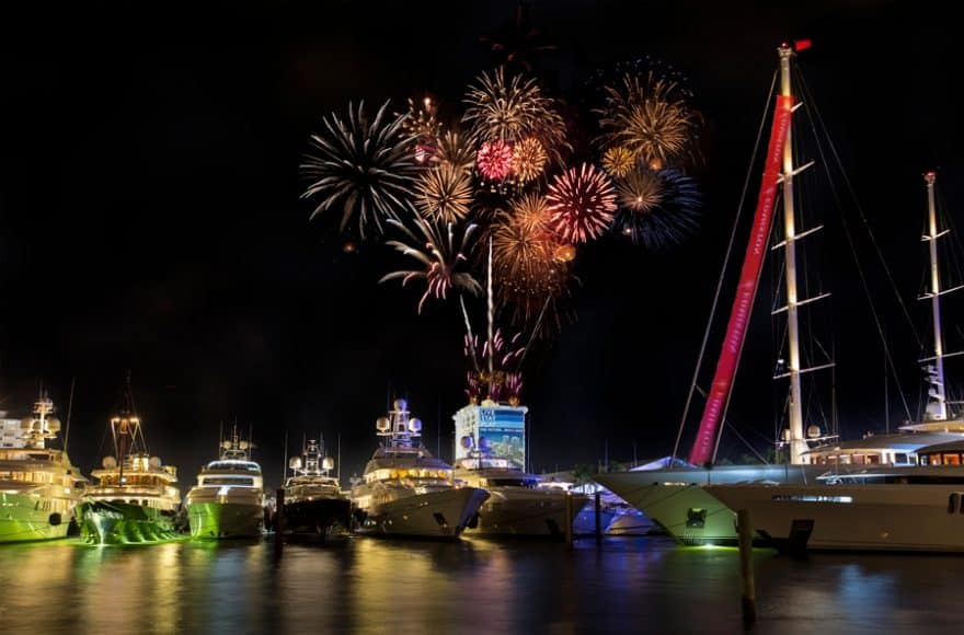 Fireworks over the marina at the Fort Lauderdale International Boat Show