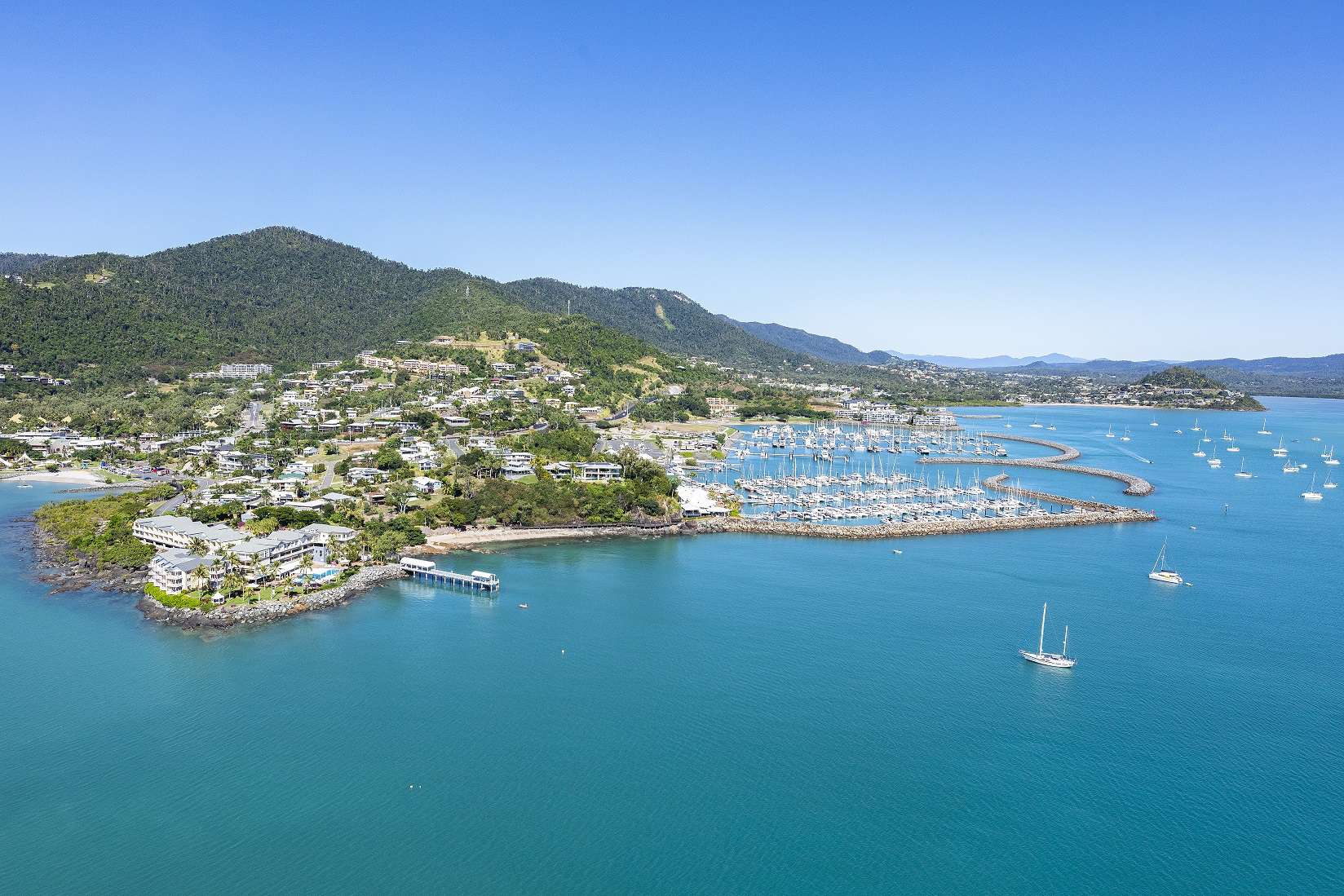 aerial of Coral Sea Resort Marina Resort