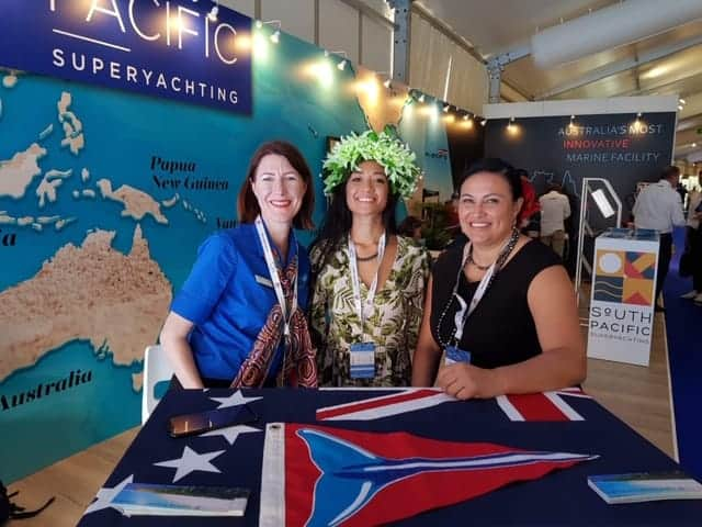 Kathleen Ferguson at the Monaco Yacht Show with Cook Islands representatives