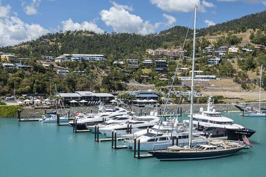 Superyachts berthed at Coral Sea Marina Resort