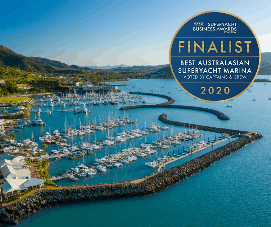 Aerial image of Coral Sea Marina with Finalist logo for the Superyacht Business Awards