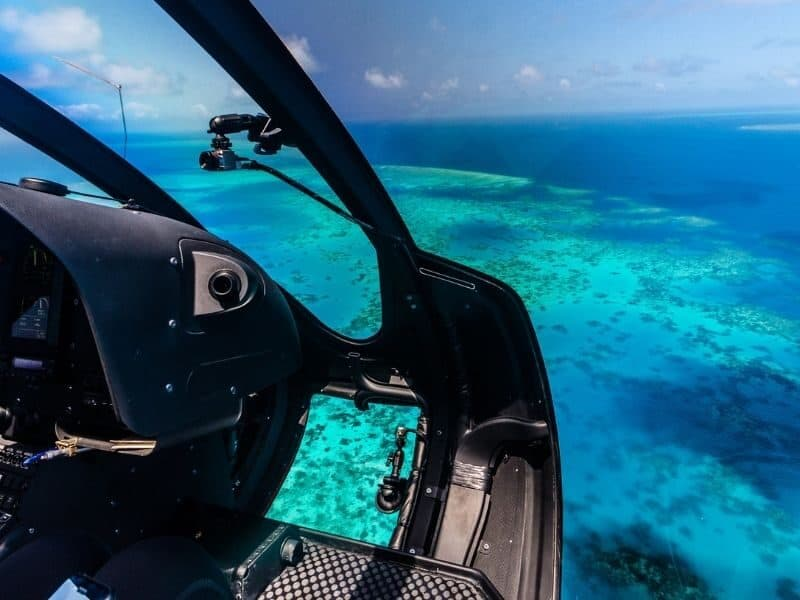 The Great Barrier Reef seen from the air within a helicopter