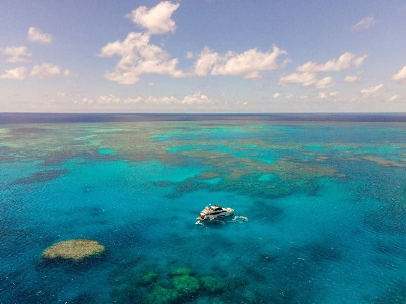 Superyacht on the Great Barrier Reef