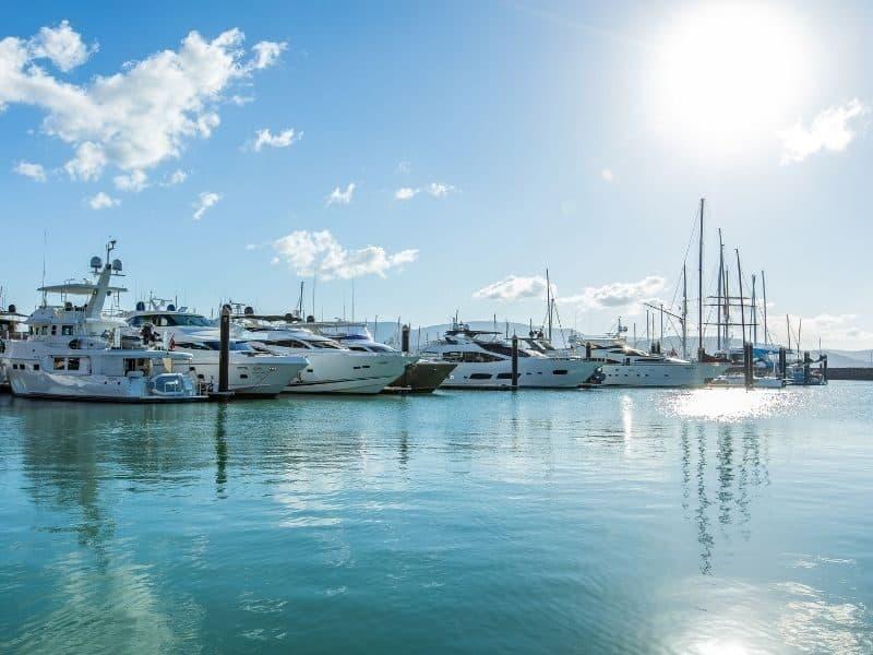 Superyachts at Coral Sea Marina in the Whitsundays